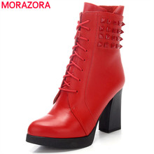 MORAZORA Women shoes genuine leather ankle boots woman high heels shoes platform spring autumn boots size 34-40