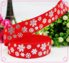 14101819,22mm Snowflake pattern silver hot Printed Red grosgrain ribbon,clothing accessories,wedding gift packaging materials