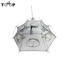 Size 80 x 80cm Foldable Crab Fish Crawdad Shrimp 6 Side 6 Holes Fishing accessories Bait Trap Cast Net Cage Nylon