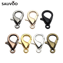 100Pcs/set 10/12mm Lobster Swivel Clasp For Key Ring Necklace Chain Gold Bronze Silver Color Alloy Lobster Clasp Hook Wholesale