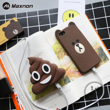 MAXNON Defecate Poops Emoji power bank 2000MAH Cute Cartoon powerbank portable External battery case pack charger with package(China)