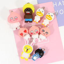 Cute New Cartoon Cocoa Friends Led Light Toys Small Pendant Kawaii Keychain Doll Model Party Decoration Girl Kids Best Cute Gift