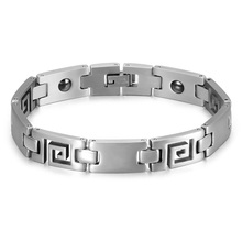 HIP Men's Health Magnetic Bracelet Hollow Great Wall Pattern Stainless Steel Bio Energy Bracelets & Bangle For Men Jewelry(China)
