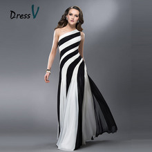 Dressv Black&White Long Evening Dresses 2017 Mermaid&trumpet Tulle Straps One shoulder Formal Cheap Prom Dresses evening dress(China)
