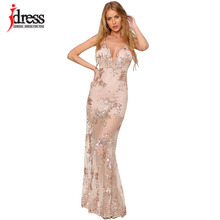 IDress Robe Sexy Stylish Backless Split Bodycon Long Maxi Long Summer Dress Black Gold Sequined Wedding Evening Party Dress(China)