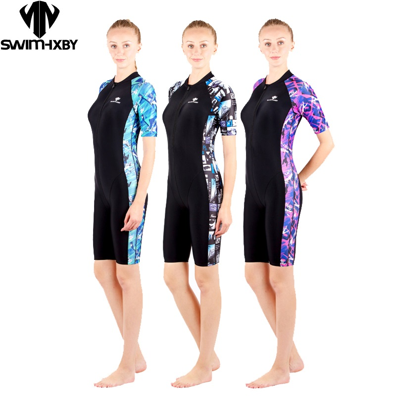HXBY swimsuit arena swimming women swimwear black printing swimsuits female competition legs swim suit racing competitive<br>