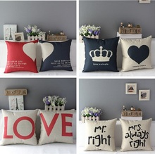 1 Pc Home Decorative Romantic Soft Bed Anniversary Mr/Mrs Right Cotton Linen Pillow Case Cushion Wedding Valentine's Gift Covers