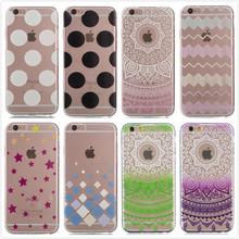 For Apple iPhone 6S Plus Case Soft Silicon Flowers Dancer Girl Clear Colorful Polka Dots Shell For iPhone 6 Covers + Screen Film