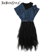 TWOTWINSTYLE 2017 Tulle Denim Summer Dress Tunic Female Jean Dresses for Women Casual Bandage Sexy Off Shoulder Big Size Clothes(China)