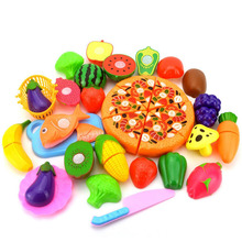 Velcr Cutting Fruit Vegetable Pizza Pretend Play Children Kid Educational Toy One Set Kitchen Cooking Toy Children DIY(China)