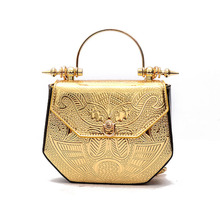 New Women Handbags Metal Patchwork Shinning Shoulder Bags Ladies Print Day Clutch Wedding Party Evening Bags printing handbag