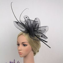2017 Dotted Mesh Feather Vogue Hair Bands Purple Blue Net Veil Hairband Fascinator Hat Elegant Fancy Church Party Women Headwear
