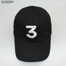 Popular chance the rapper 3 Hat Cap Black Letter Embroidery Baseball Cap Hip Hop Streetwear Strapback Snapback Sun Hat Bone