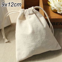 "Cotton Linen Gift Bags 9x12cm(3.5""x4.75"") pack of 50 Birthday Wedding Party Favor holders Jewelry Drawstring Packaging Pouch"