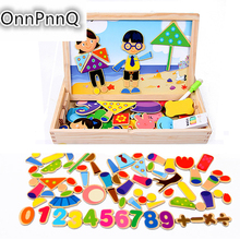 108pcs Multifunctional Educational Wooden Magnetic Puzzle Toys for Children Kids Jigsaw Baby's Drawing Easel Board