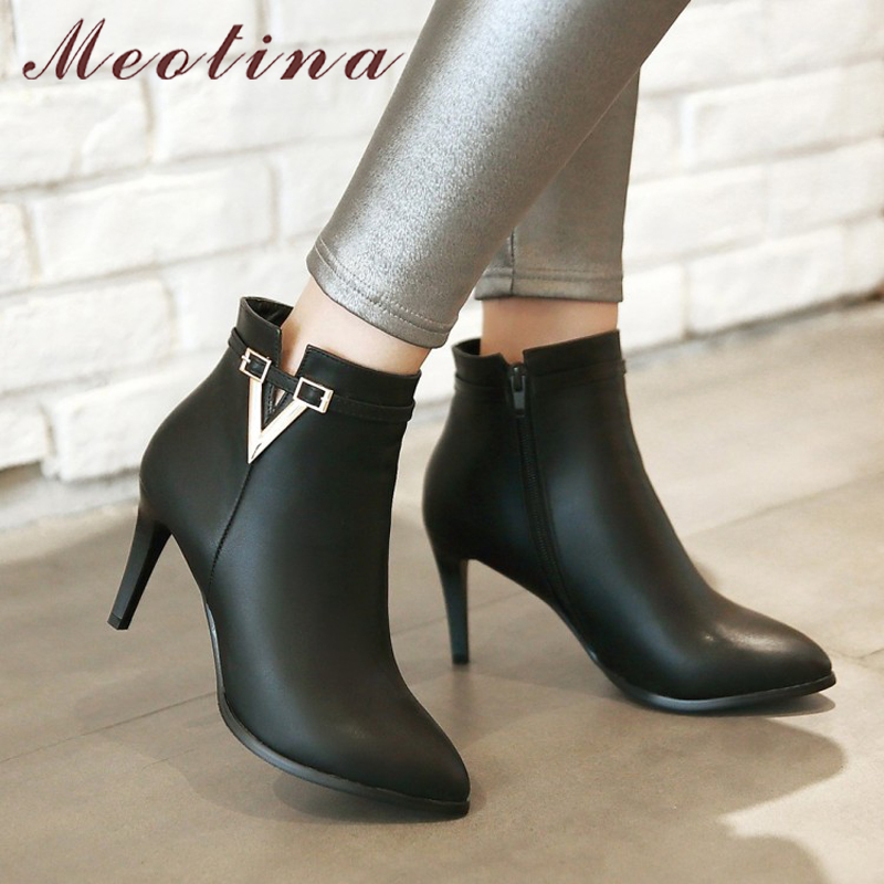 Women's High Heel Ankle Boots, Martin Boots, Zip Pointed Toe, High Heels 11
