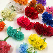 6 PCS (3.5 cm/flower) stamens Daisy flowers, artificial silk flowers wedding decoration wreath of DIY gift box collage supplies