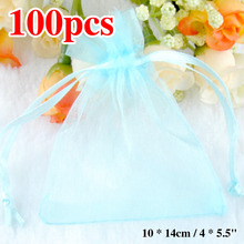 Sale 2016 Cheap Wholesale 100pcs Organza Candy Bag Box Pendent Light Blue Color Mini Gift Pouch Bags Wedding On sale Stock(China)