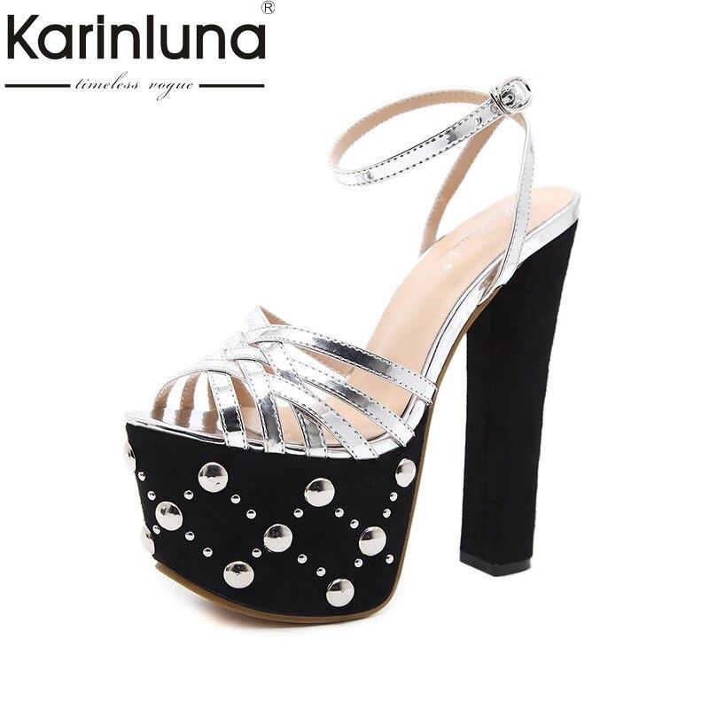 Karinluna 2018 Summer Brand New Wedding Party Sandals Super High Heels Shoes Woman Platform Rivet Fashion Women Shoe<br>