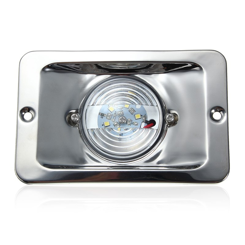 Square Marine Stainless Steel Transom Ship Lights Boat Lights Navigation LED Lamp White DC 12V Waterproof<br><br>Aliexpress