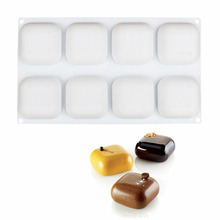White 8 Cavity Square GEM Shaped Silicone Cake Molds Pudding Jelly Candy Baking Decorating Tools(China)