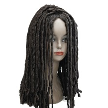 StrongBeauty Spiral Curls Hairstyle African American Wig Medium Length Black Brown Auburn Dreadlock Wigs