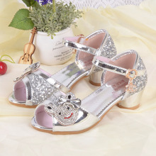 Girls High Heels Dress Shoes Cartoon Rhinestone Princess Party Sandals Toddler Kids Wedding Shoes Gladiator Sandals Pink Silver(China)