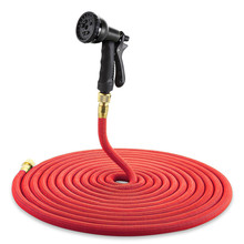 Top Sale 8 in 1 Spray Gun 25-100FT Expandable Garden Hose Latex Tube Magic Flexible Hose For Garden Red Plastic Hoses tuinslang(China)