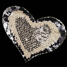 Patch deal with it sequins love heart design fashion girl clothes women motif embroidery patches for clothing free shipping