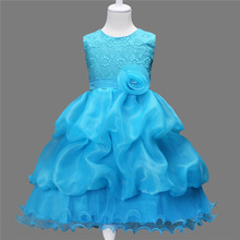 childrens fashion 2017 dresses kids girl ball gowns puffy flower birthday clothes for kids girl white red pink blue ball gowns(China)