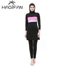 HAOFAN Women Stripe Printed Muslim Swimwear Hijab Muslimah Islamic Plus Size Swimsuit Swim Surf Wear Sport Burkinis 5XL(China)