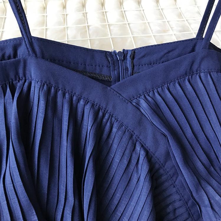 2019 Spring Women Chiffon Pleated Braces Sling Spaghetti Strap Goffer Long Dress Ladies Ruffles Empire Drapped Swing Slip Dress 157