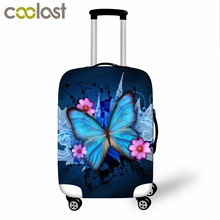 3D print protable butterfly print travel trolley accessories waterproof luggage covers 18-30inch suitcase dustproof cover