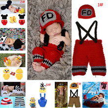 Cartoon Designs Newborn BABY Photo Props Crochet BABY Hat Pants Set Boys Photography Costume Newborn Crochet HATS 1set