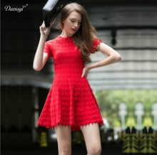 2017 Spring Summer Valentine's Day Heart Shape Jacquard Knitting Red Short Dress Bodycon Slim Petite Knitted Mini Dresses Ladies