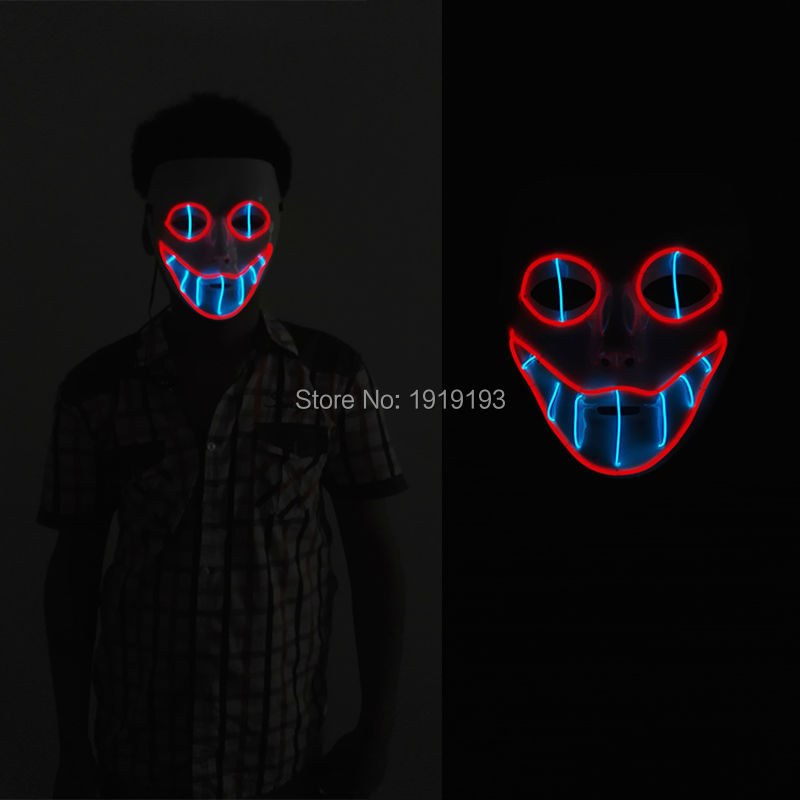 NEW Flashing Glow Smiling face PVC EL wire mask LED Neon light Funny holiday lighting mask for Halloween,Christmas,Party,DJ(China (Mainland))