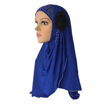 Cogongrass 10 Pieces Muslim Hijab Islamic Scarf Woman Amira Cap Beautiful Drill on Head with 2 Cloth Flowers Polyester