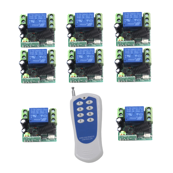 DC 12V 10A 1CH RF Wireless Remote Control Switch System,315/433 MHZ 8CH Transmitter+8 X Receivers,Momentary/Toggle SKU: 5459<br>