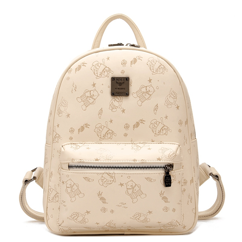 Korean Backpack Fashion Leather Shoulder Bag Printing Pattern Backpack School Bags For Teenager Girls Rucksack Mochila Femininas<br>
