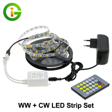 Double Color Led Strip Light 5025 / 2835 Cold White + Warm White 12V 5M + CT Remote Controller +12V 3A Power Supply(China)