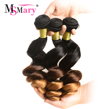 3 Pieces per Lot 1B 4 30 Ombre Color Ms Mary Loose Wave Bundles Weft Cheap Remy Ombre Human Hair Weave Free Shipping(China)