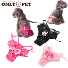 2015 New Pet physiological Pants Dogs pants flowers & bow & punk skull overalls Cute puppy dress clothes  SIZE: S.M.L