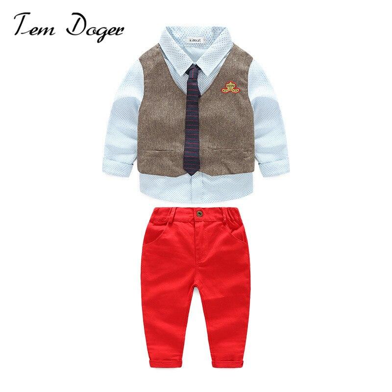 Boys Clothing Sets Gentleman Stes 2017 New Children Long Sleeve Shirt+Vest+Pant 3PCS Baby Boy Autumn Bow Tie Clothes Suit<br><br>Aliexpress