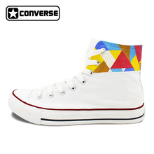 Athletic Shoes Women Men Brand Converse Chuck Taylor Original Design Colorful Geometric Figure Hand Painted Canvas Sneakers(China)