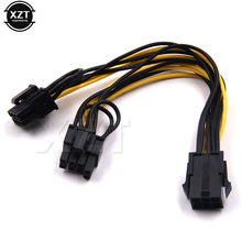 5pcs 6 inch Molex 6-pin PCI Express to 2 x PCIe 8 (6+2) pin Motherboard Graphics Video Card PCI-e GPU VGA Splitter Power Cable(China)
