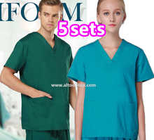 5set Medical clothing uniforme hospital women nursing scrub gown Thai spa dental clinic beauty salon nurse uniform surgical Suit