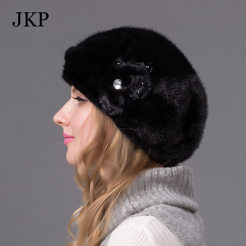Genuine mink fur hat for women winter imported whole mink fur cap floral pattern 2015 Russian high-end luxury female hatsОдежда и ак�е��уары<br><br><br>Aliexpress