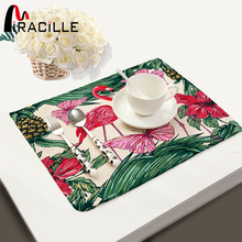 Miracille Modern Tropical Flamingo Pineapple Pattern Table Placemat Cotton Linen Tea Towel Napkin Kitchen Accessory Cup Coaster