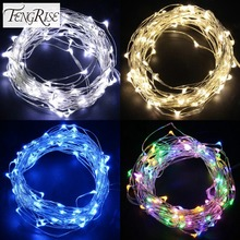 FENGRISE 2 5M Led Copper Wire String Lights Romantic Wedding Fairy Light Decoration AA Battery Operated New Year Christmas Decor(China)