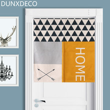 DUNXDECO Door Partition Curtain Kitchen Half Cortina Fashion Nordic Geometric Love Home Linen Look Fabric Rideau Store Decor